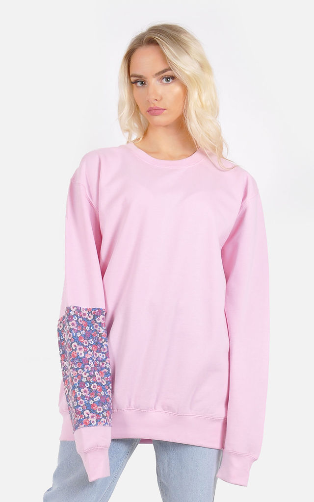 Baby pink Oversized floral panel winter warm jumper by The Left Bank
