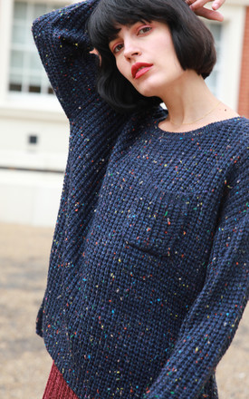 Oversized Jumper in Navy Blue with Multicolour Speckles by CY Boutique