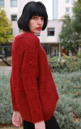 Oversized Slouchy Fluffy Jumper in Burgundy by CY Boutique