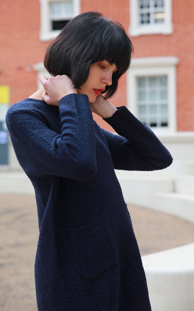 Longline Knitted Jumper Dress in Navy Blue by CY Boutique