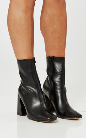 Black PU Leather Asymmetric Block Heel Boots by Truffle Collection