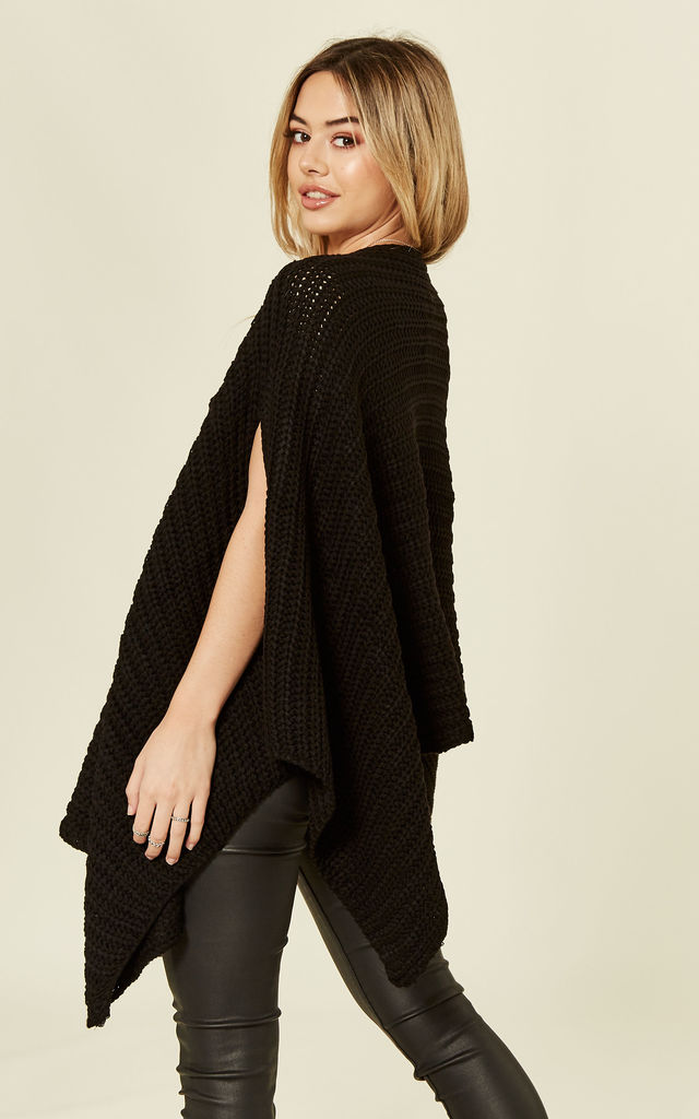 Black Chunky Knitted Poncho Cape by MISSI LONDON