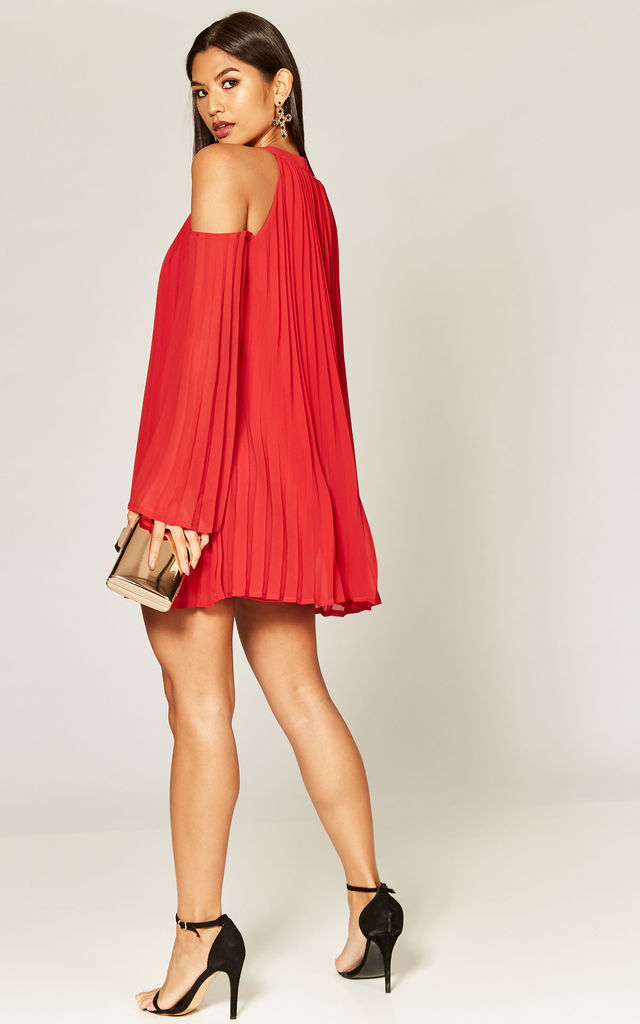 Red pleated cold shoulder mini dress by Phoenix & Feather