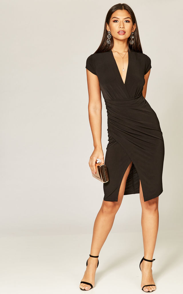 Black short sleeve overlay dress by Phoenix & Feather