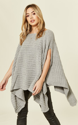 Silver Grey Chunky Knitted Poncho Cape by MISSI LONDON