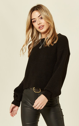 Black Balloon Sleeve Knitted Jumper by MISSI LONDON