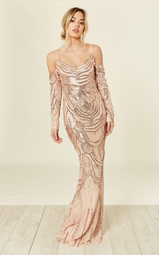 da170e5b Vienna Rose Gold Luxe Tribal Vip Illusion Sequin Embellished Mermaid Maxi  Dress