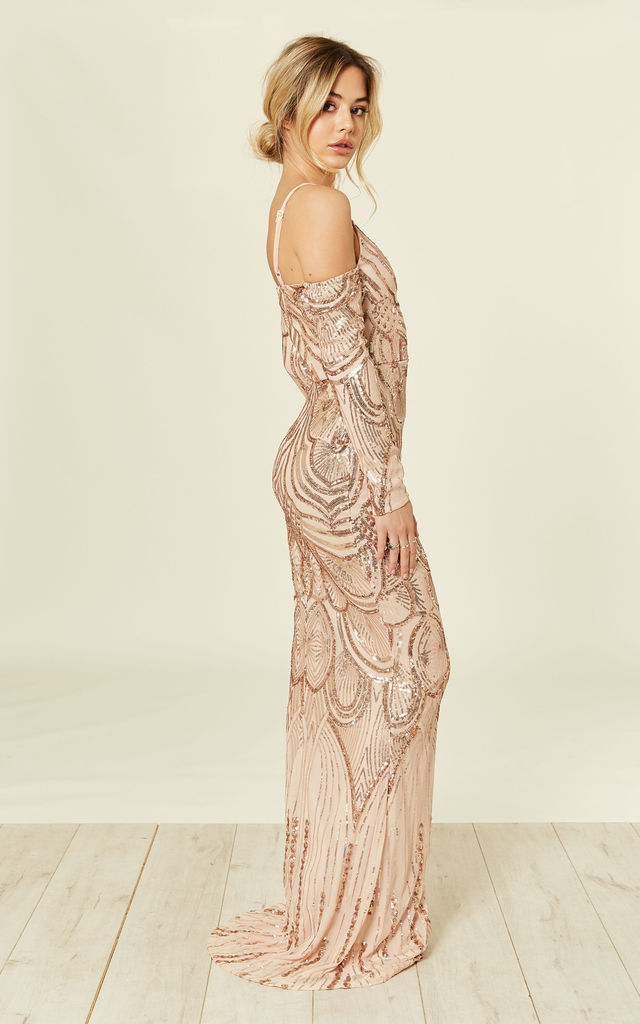 33dae8e9 VIENNA ROSE GOLD LUXE TRIBAL VIP ILLUSION SEQUIN EMBELLISHED MERMAID MAXI  DRESS by Nazz Collection