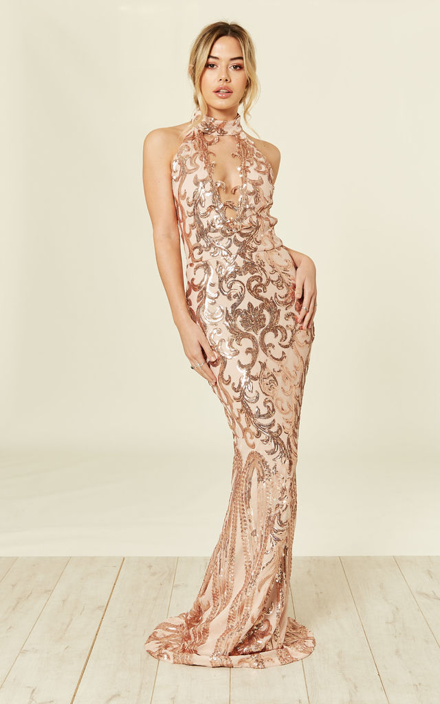 e718ef03 Majesty Luxe Rose Gold Nude Keyhole Victorian Sequin Illusion Maxi Dress