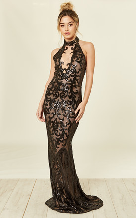 MAJESTY LUXE BLACK NUDE KEYHOLE VICTORIAN SEQUIN ILLUSION MAXI DRESS by Nazz Collection