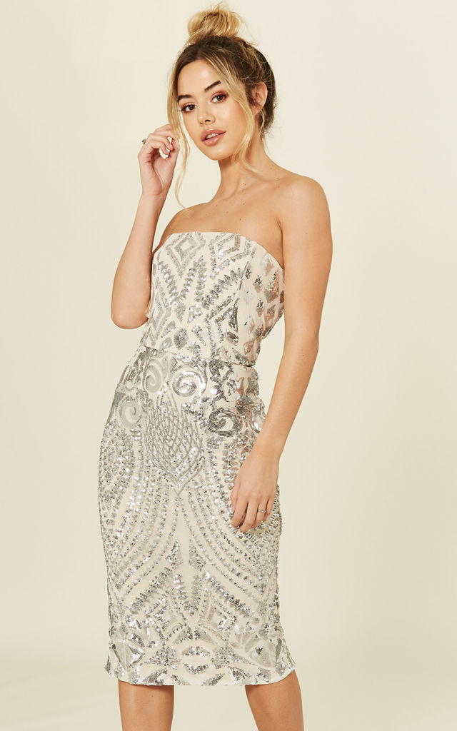 fa2c5e43824b CHIC LUXE SILVER NUDE STRAPLESS SEQUIN EMBELLISHED ILLUSION MIDI PENCIL  DRESS by Nazz Collection