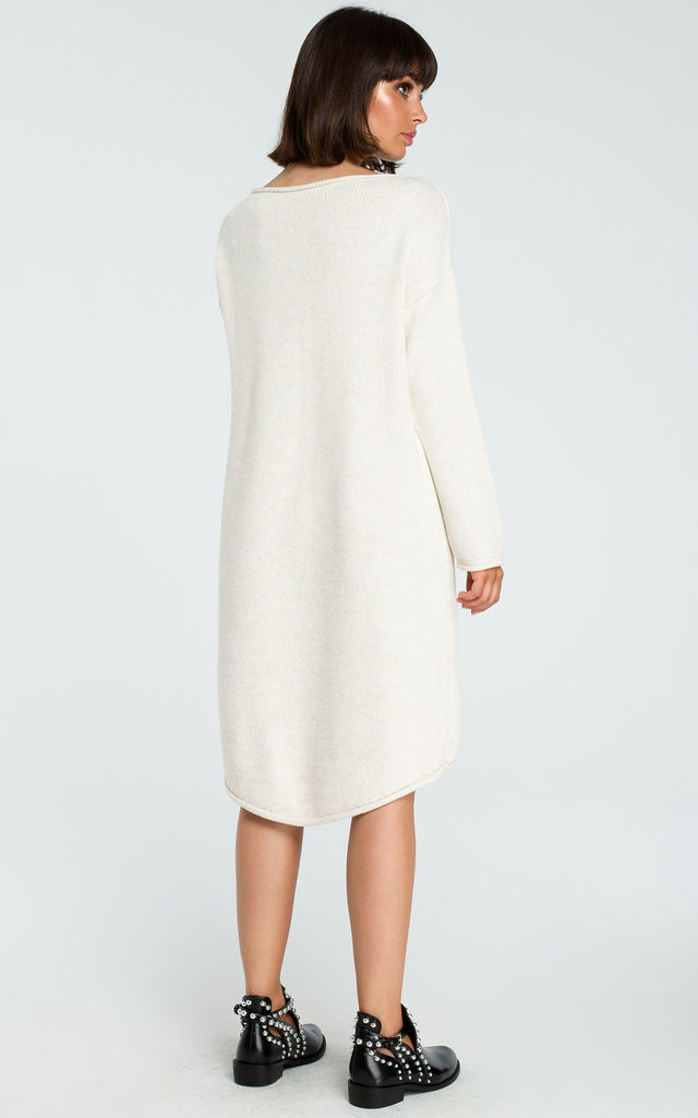 Beige Long Back Knit Dress by MOE