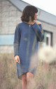 Blue Long Back Knit Dress by MOE