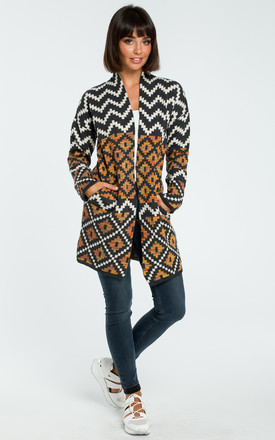 Multicolour Aztec Print Open Cardigan by MOE
