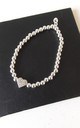 Silver Bead Stretch Crystal Heart Braceley by Olivia Divine Jewellery