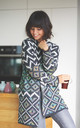 Multicolour Aztec Print Open Knit Cardigan by MOE