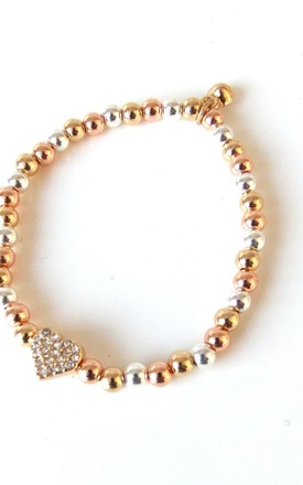 Gold Silver and Rose Gold Crystal Heart Stretch Bracelet by Olivia Divine Jewellery