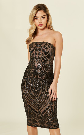 c37be57acfb2 CHIC LUXE BLACK NUDE STRAPLESS SEQUIN EMBELLISHED ILLUSION MIDI PENCIL DRESS  by Nazz Collection