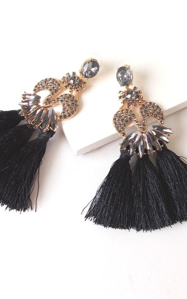 Black Jewelled Triple Tassel Earrings by Olivia Divine Jewellery