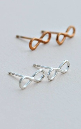 Infinity Sterling Silver Earring Studs by Posh Totty Designs