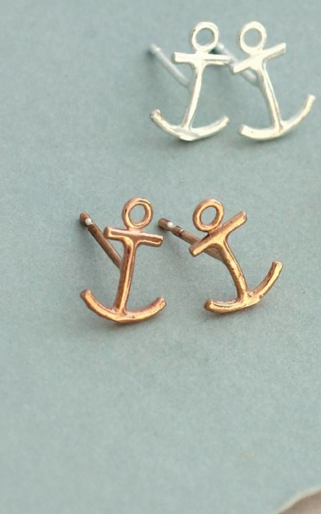 Anchor Rose Gold Earring Studs by Posh Totty Designs