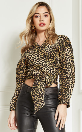 Leopard Print Wrap Top by Bella and Blue