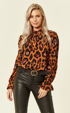 Pussy bow Leopard Print blouse In Rust by Foreva Young