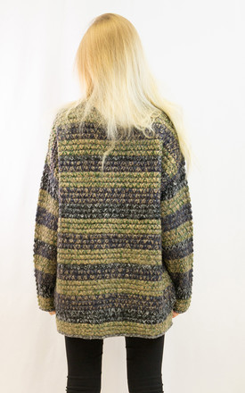 Oversized Knitted Jumper in Green Stripe by CY Boutique