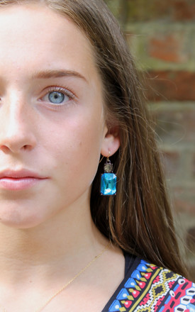 Simple Gem Earring In Turquoise With Bronze by LAST TRUE ANGEL Product photo