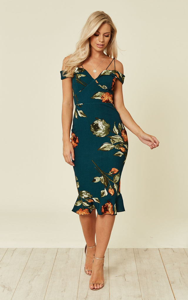 35d6949460e TEAL FLORAL OFF THE SHOULDER DRESS WITH FRILL DETAIL by AX Paris