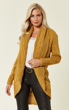 Chunky Pleat Long Cardigan In Mustard Yellow by Love Product photo