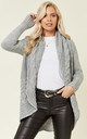 Chunky Pleat Long Cardigan in Light Grey by Love