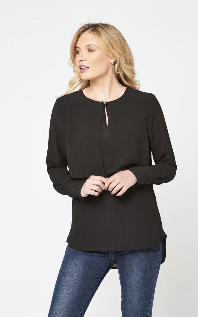 Layered Blouse (Black) by Two For Joy