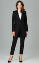 Longline Blazer with Single Button in Black by LENITIF