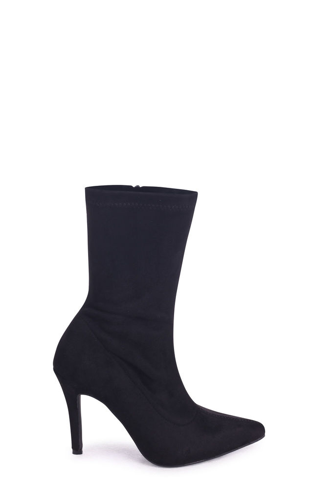 Bianca Black Suede Sock Boot With Stiletto Heel by Linzi