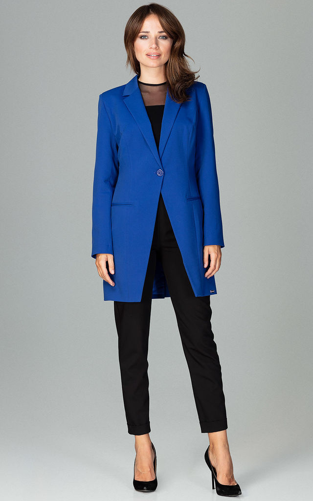 Longline Blazer with Single Button in Sapphire Blue by LENITIF