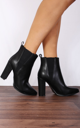 Black Chelsea Pointed Block High Heeled Ankle Boots by Shoe Closet Product photo