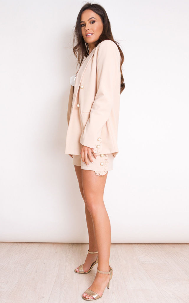 Kallie Pearl Embellished Frill Short Nude by Girl In Mind