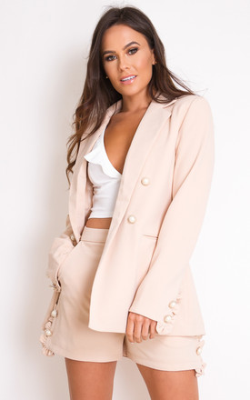 Kallie Pearl Embellished Frill Blazer Nude by Girl In Mind