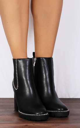 Black Chelsea Studded Block High Heeled Ankle Boots by Shoe Closet