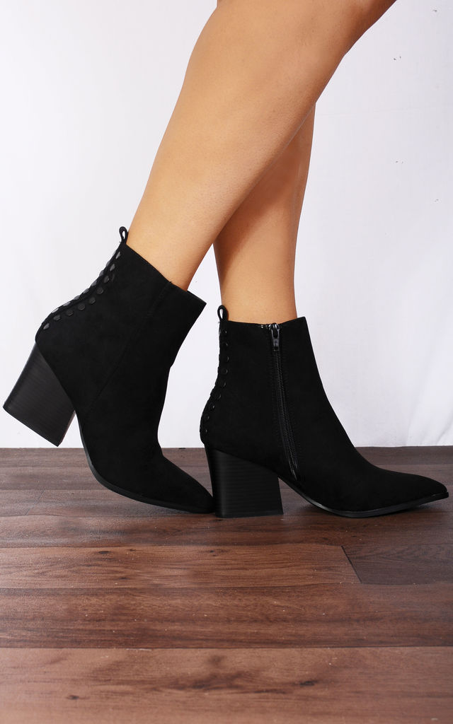 Black Western Pointed Low Heeled Ankle Boots by Shoe Closet