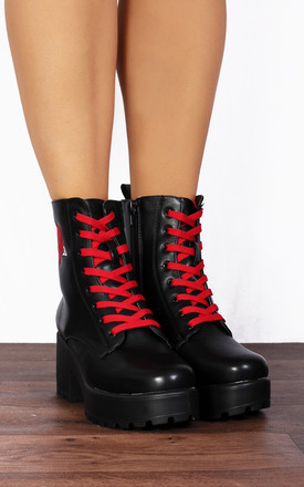 Black Red Heart Stitching Chunky Platforms Lace Ups Ankle Boots by Shoe Closet