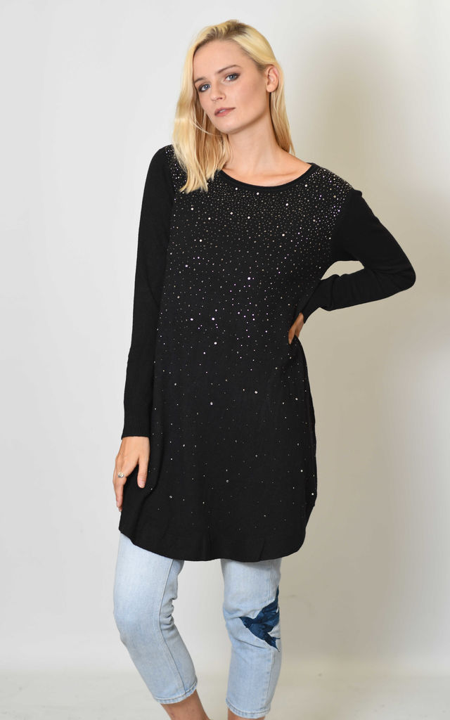 LONGLINE KNITTED TOP WITH CRYSTAL EMBELLISHMENTS in BLACK by Lucy Sparks