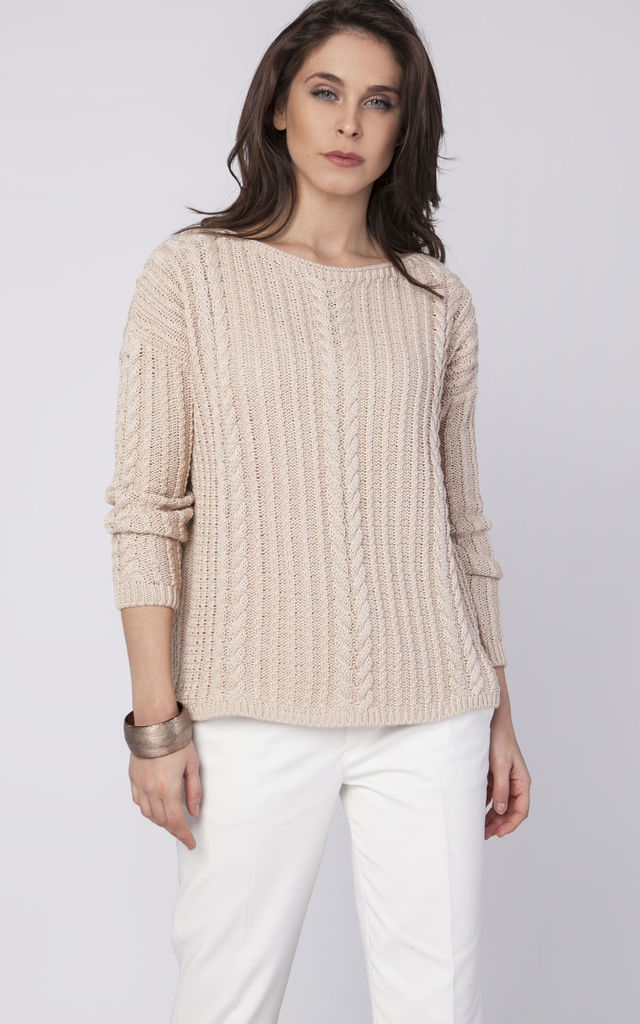 Sweater with drop-sleeves - beige by MKM Knitwear Design