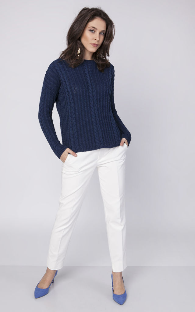 Sweater with drop-sleeves - navy by MKM Knitwear Design