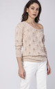 Openwork Jumper with V Back in beige by MKM Knitwear Design