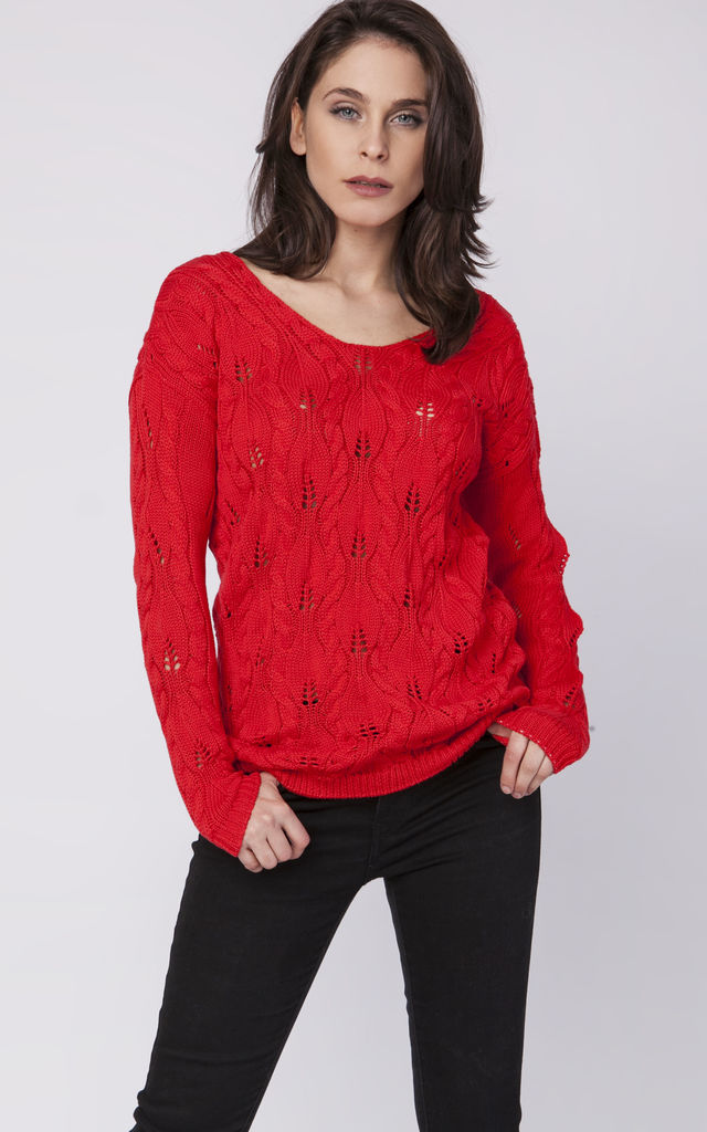 Openwork sweater with a neckline at the back - coral by MKM Knitwear Design