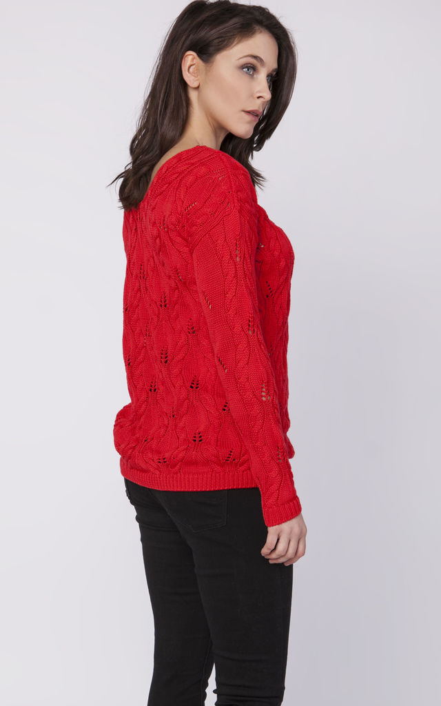 Openwork Jumper with V Back in coral by MKM Knitwear Design