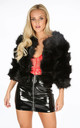 Cropped Super Soft Faux Fur Jacket In Black by Dressed In Lucy