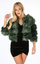 Cropped Super Soft Faux Fur Jacket In Teal by Dressed In Lucy
